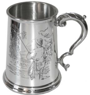 1pt Fishing Pewter Tankard